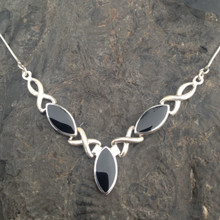 Sterling silver Celtic necklace with three Whitby Jet marquise stones