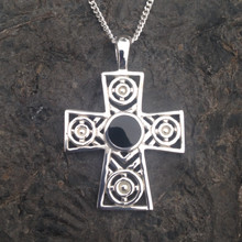 Contemporary Sterling silver Celtic cross pendant with round Whitby Jet stone