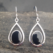 Whitby Jet Teardrop Earrings 052CE