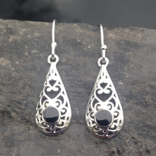 925 sterling silver filigree drop earrings with round Whitby Jet stone