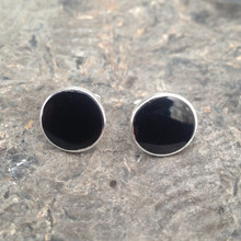 Large round Whitby Jet and 925 silver stud earrings