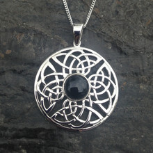Sterling silver large round Celtic Pendant with Whitby jet cabochon