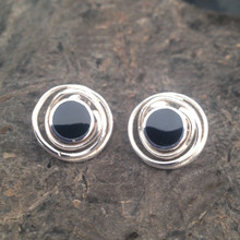 Whitby Jet and 925 silver Round spiral stud earrings