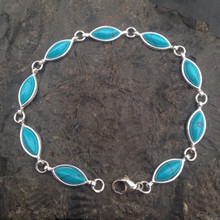 Sterling silver multistone bracelet with turquoise marquise stones