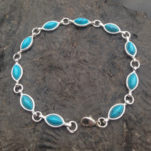 Sterling silver multi stone bracelet with turquoise marquise stones
