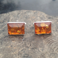 Sterling silver cufflinks with cognac amber oblong stones