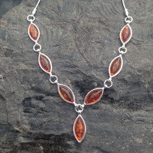 Cognac Amber Multistone Marquise Necklace 064AMB
