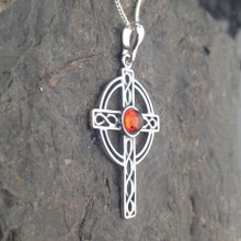 sterling silver cross necklace with Baltic amber stone