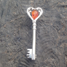 925 silver key brooch with baltic cognac amber stone