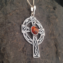 925 silver Celtic Welsh cross necklace with baltic amber stone
