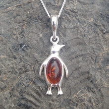 cognac amber and sterling silver penguin pendant