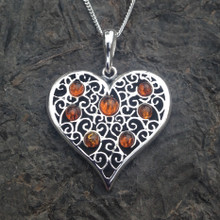 Large sterling silver heart pendant with cognac amber cabochons
