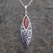 Long filigree marquise sterling silver pendant with cognac amber stone
