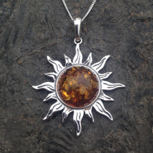 Large 925 silver sun necklace with Baltic amber stone