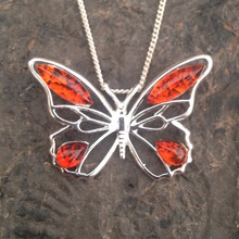 Large sterling silver butterfly pendant with Cognac amber stones