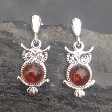 Sterling silver owl drop earrings with cognac amber cabochon and cubic zirconia eyes