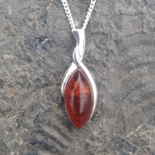 Small sterling silver and marquise cut cognac amber pendant