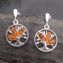 sterling silver and cognac Baltic amber multi stone tree of life drop earrings