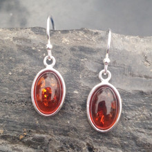 Sterling silver drop earrings with Baltic cognac amber oval stones