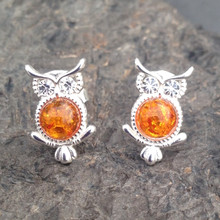 Sterling silver owl stud earrings with Baltic amber cabochons