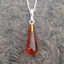 Handmade Baltic amber drop pendant on sterling silver necklace