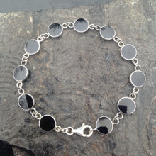 Sterling silver and Whitby Jet handmade multistone round stone bracelet