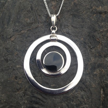 Large sterling silver circles pendant with round Whitby Jet stone