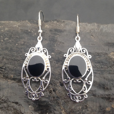Long sterling silver filigree earrings set with oval Whitby Jet stones