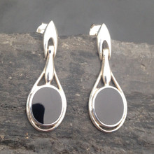 Sterling silver hinged drop earrings with Whitby Jet oval stones and stud fastenings