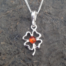 Baltic amber and sterling silver four leaf clover necklace