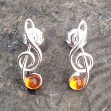 Sterling silver treble clef stud earrings with Baltic amber cabochons