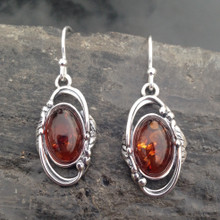 Traditional oval sterling silver and cognac amber drop earrings