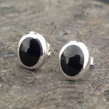Handmade Sterling silver cushion edge oval stud earrings with Whitby Jet