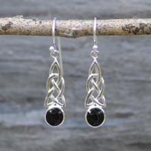 Celtic Whitby Jet drop earrings