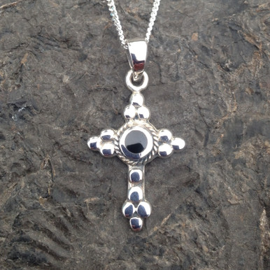 Sterling silver beaded cross pendant with round Whitby Jet stone