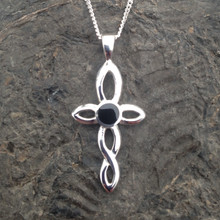 Small Celtic Whitby Jet and 925 silver cross pendant on sterling silver chain