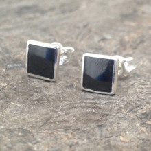 Whitby Jet and silver square stud earrings
