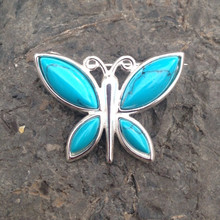 Turquoise and sterling silver multi stone butterfly brooch