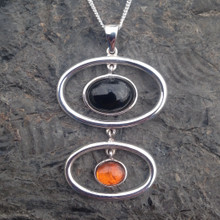 Large sterling silver Whitby Jet and Baltic amber cabochon pendant