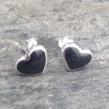 Large curved sterling silver and Whitby Jet heart stud earrings