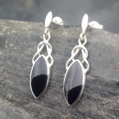 Sterling silver Celtic drop earrings with Whitby Jet marquise stones