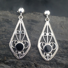 Large sterling silver filigree earrings with round Whitby Jet stone