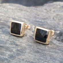 9ct gold square stud earrings with Whitby Jet