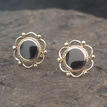 Round rope frill bead Whitby Jet 9ct gold stud earrings