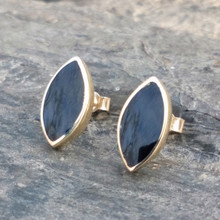 9ct gold stud earrings with marquise cut Whitby Jet stones