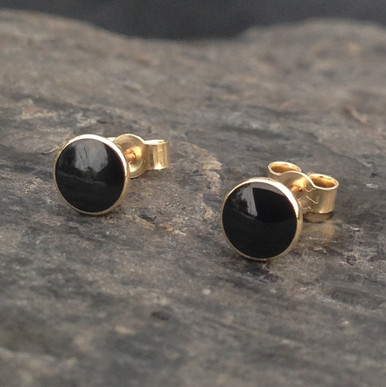 Whitby Jet 9ct gold small round 4mm stud earrings