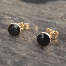 Whitby Jet 9ct gold small round 5mm stud earrings