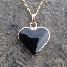 Handmade Whitby Jet and 9ct gold heart pendant on gold curb chain