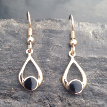 9ct gold wishbone drop earrings with round Whitby Jet stone
