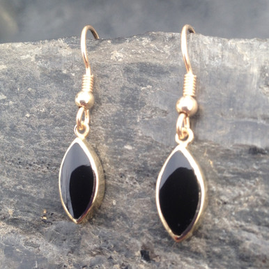 9ct gold drop earrings with marquise shaped Whitby Jet stone